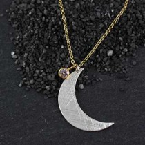 Flat Crescent Moon Necklace w/floating CZ
