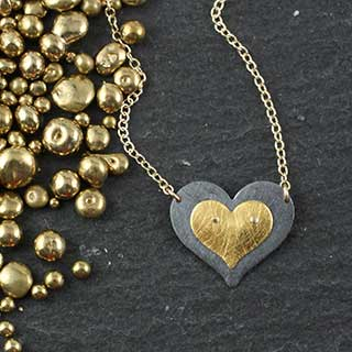Double Flat Heart Riveted Necklace #62 (n-fh62)