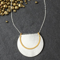 Floating Layered Trimmed Disc and Ring Necklace