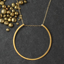 Floating Large Flat RIng Necklace