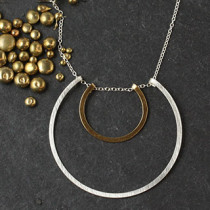 Floating Double Flat RIng Necklace