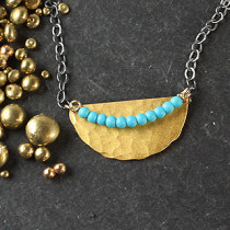 Sliced Disc Necklace with Turquoise Collar