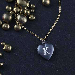 Engraved Tiny Heart Locket Necklace: Monogram (n-hls1)