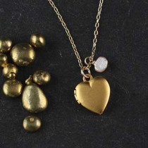 Tiny Heart Locket Necklace with Baby Pearl