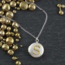 Riveted Initial Locket Necklace: SmRound