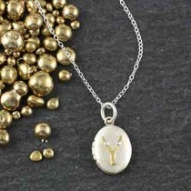 Riveted Initial Sm Oval Locket Necklace