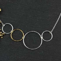 Mixed Hammered Rings Necklace