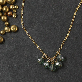 Multi Green Rondelle Necklace (n-k005)