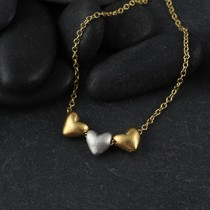 Triple Threaded Baby Heart Necklace