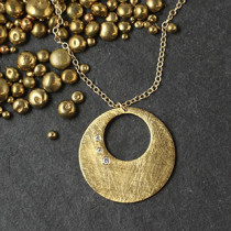 Punched out Disc w/ 3 CZ Necklace