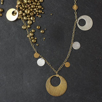 Punched Disc and Dot Long Necklace