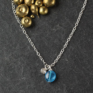 Apatite Pebble and Labradorite Rondelle Necklace (n-si05)