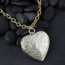 Jumbo Etched Heart Locket Necklace
