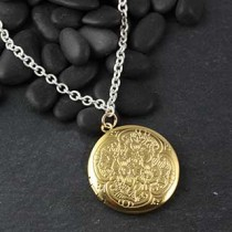 Jumbo Round Floral Locket Necklace