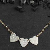 3 Tiny Engraved Sweethearts Necklace