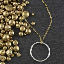 Large Twiggy Ring Necklace: Round/no Stone
