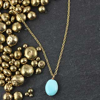 Tiny Turquoise Pebble Necklace (n-tq01)