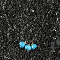 Three Turquoise Rondelle Necklace