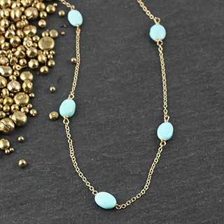 Five Turquoise Pebble Necklaces (n-tq05)