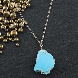 Rustic Turquoise Slab Necklace (n-tq0s)