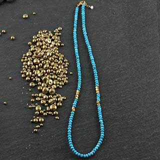Faceted Turquoise Necklace w Gold Accents (n-tq32)
