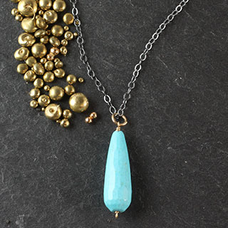 Large Turquoise Teardrop Necklace (n-tql1)