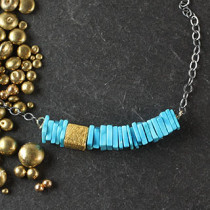Turquoise Square Bar Necklace