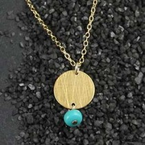 Turquoise and Small Disc Necklace