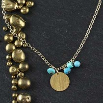 Small Disc w/Turquoise Accents Necklace