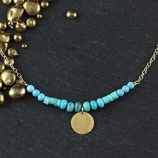 Turquoise and Disc Bar Necklace (n-tqz88)