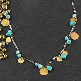 Multi Turquoise and Disc Necklace (n-tqz9)