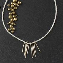 Pearl and Hammered Wire Necklace