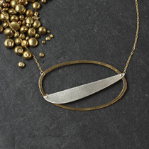 Flat Oval and Slash Necklace
