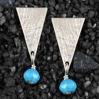 Triangle Post Earring w/Rondelle (p-tr10)