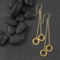 Dbl Brushed Ring Drop Earring