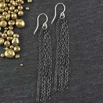 Multi Strand Oxidized Chain Earring