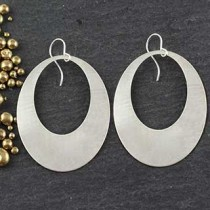 Punched Oval Earrings: Large