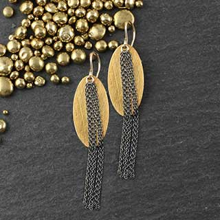 Oval Tassel Earrings (e-cv99)