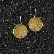 Sm Disc Earrings W/ 3 Cz