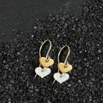 Two Tiny Flat Heart Earring
