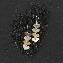 Four Tiny Flat Heart Earring