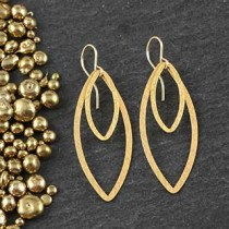 Double Flat Marquise Earring: Small