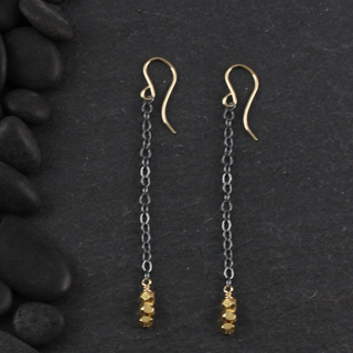 3 Faceted Nugget Chain Earring (e-fx13)