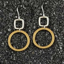 Gold Square W/Silver Ring Earring