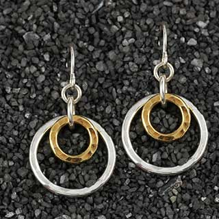 Concentric Hammered Rings Earrings (e-hr22)