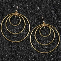 Graduated Hammered Ring Earring