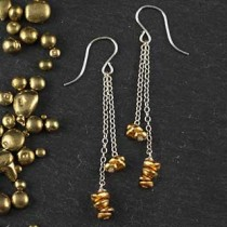 Double Chain and Rustic Nugget Earring