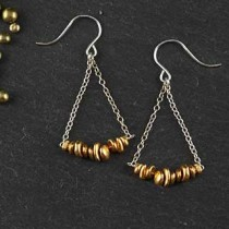Chain and Rustic Nugget Swing Earring
