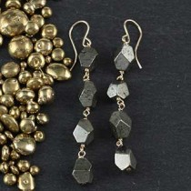 Four Geometric Pyrite Earring