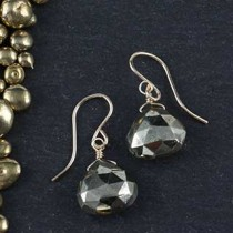 Wide Pyrite Briolette Earring